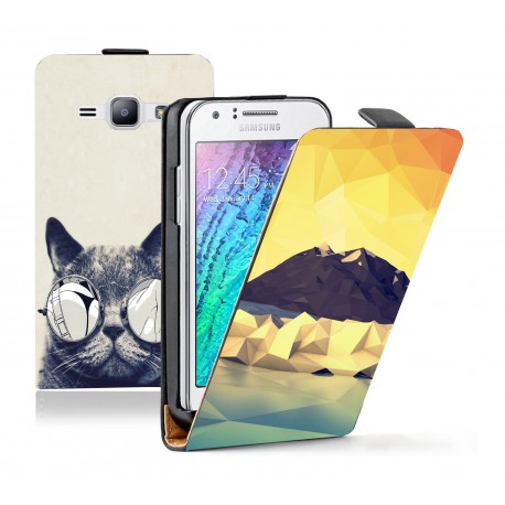 Housse verticale avec photo pour Samsung Galaxy J1